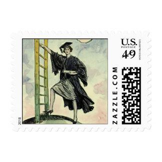 Vintage Graduation, Climbing the Corporate Ladder Postage Stamp