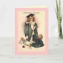 Vintage Graduation Congratulations Roses cap gown Card