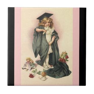 Vintage Graduation Girl Dolls Roses Keepsake Tile