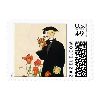 Vintage Graduation, Graduate Reading a Book Postage