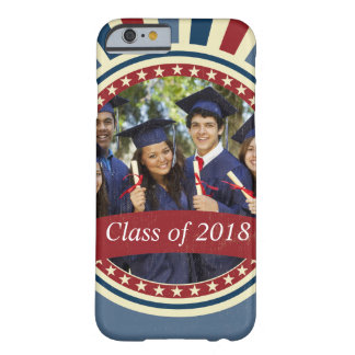 Vintage graduation photo insert red blue USA flag Barely There iPhone 6 Case