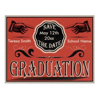 Vintage Graduation Save The Date Postcard