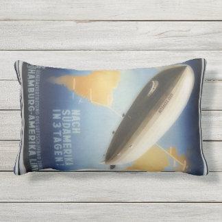 Vintage Graf Zeppelin travel poster Outdoor Pillow