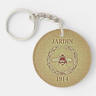 Vintage Grain Sack Burlap Look Bee Decorative Keychain
