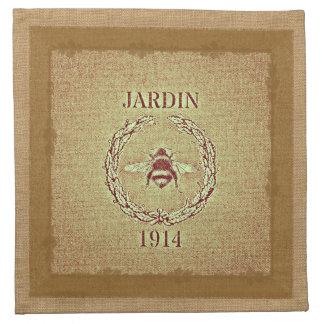 Vintage Grain Sack Burlap Look Bee Decorative Cloth Napkin