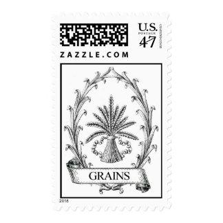 Vintage grain sack label art postage