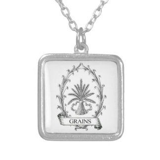 Vintage grain sack label silver plated necklace
