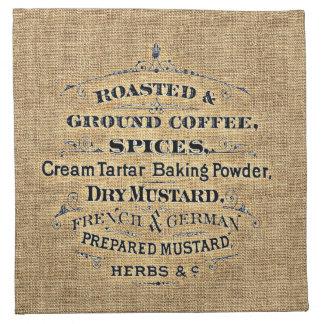 Vintage Grain Sack Style Grocery Store Sign Burlap Cloth Napkin