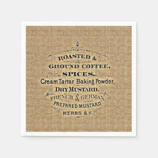 Vintage Grain Sack Style Grocery Store Sign Burlap Napkin