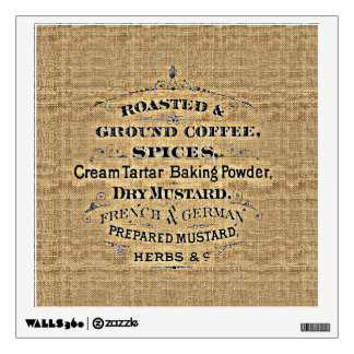 Vintage Grain Sack Style Grocery Store Sign Burlap Wall Sticker