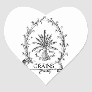 vintage grain sack typography design heart sticker
