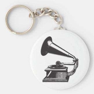 Vintage Gramophone Basic Round Button Keychain
