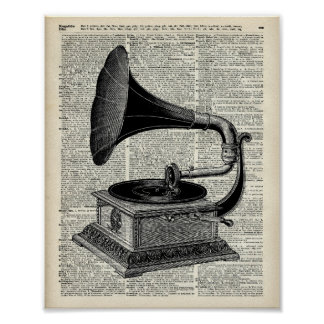 Vintage gramophone poster