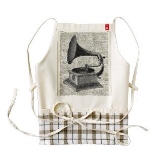 Vintage gramophone zazzle HEART apron
