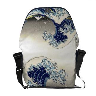 Vintage, gran onda, 葛飾北斎の神奈川沖浪 de Hokusai Bolsa Messenger