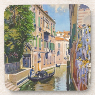 Vintage Grand Canal Gondolas Venice Italy Travel Beverage Coaster