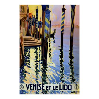 Vintage Grand Canal Venice Italy Travel Poster