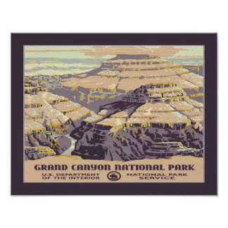 Vintage Grand Canyon WPA Travel Poster