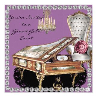 """Vintage Grand Piano Gala Event Invitation 5.25"""" Square Invitation Card"""