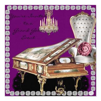 """Vintage Grand Piano Lavender Event Invitation 5.25"""" Square Invitation Card"""