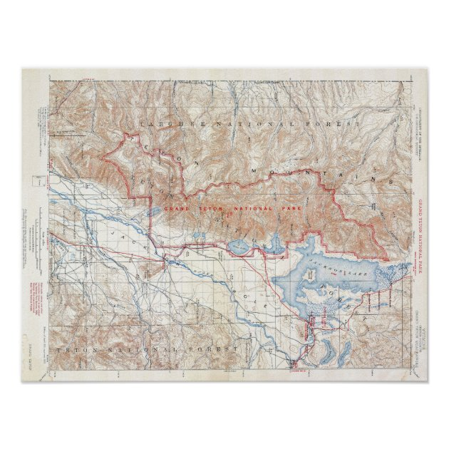 Picture of: Vintage Grand Teton National Park Wyoming Map Poster Zazzle Com