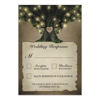 Vintage Grandfather Oak Tree Wedding RSVP Cards