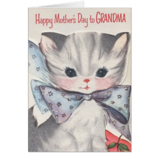 Vintage Grandma Mother's Day Cat Card