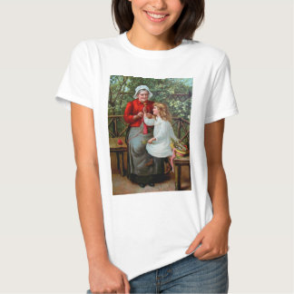 Vintage Grandmother and Granddaughter on Bench T-shirt