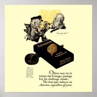 Vintage Granger Pipe Tobacco Poster 15x15