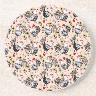 Vintage Grannies Kitchen RoostersSandstone Coaster