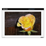 Vintage Grannie's Yellow Rose Decals For Laptops
