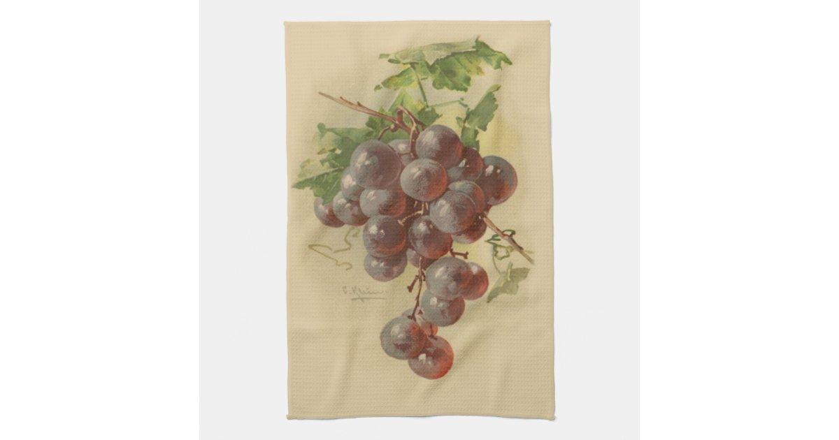 Vintage Grapes Kitchen Towel Zazzle Com