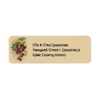 Vintage grapes label