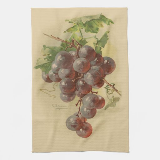 Vintage grapes towel