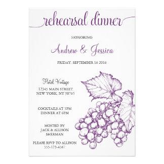Vintage Grapes Wedding Rehearsal Dinner Invite