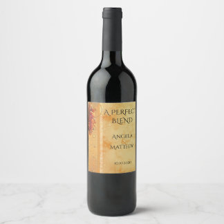 Vintage Grapes Wedding Wine Label