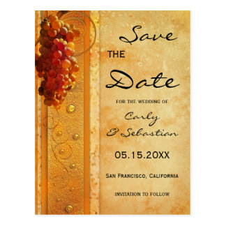 Vintage Grapes Wine Theme Save the Date Postcard