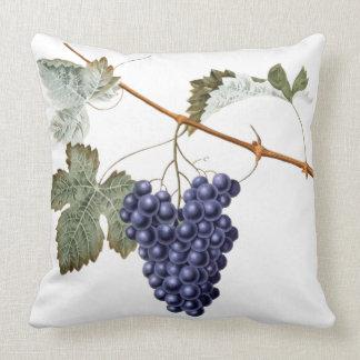 Vintage Grapevine Grapes Leaf Purple Plant Vinyard Throw Pillow