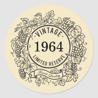Vintage Grapevine Wine Stamp, Add Birth Year Classic Round Sticker
