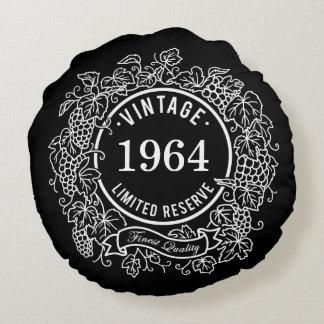 Vintage Grapevine Wine Stamp, Add Birth Year Round Pillow