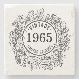 Vintage Grapevine Wine Stamp, Add Birth Year Stone Coaster