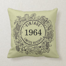 Vintage Grapevine Wine Stamp, Add Birth Year Throw Pillow