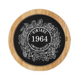 Vintage Grapevine Wine Stamp Black, Add Birth Year Cheese Platter
