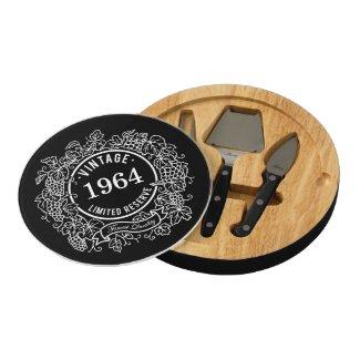 Vintage Grapevine Wine Stamp Black, Add Birth Year Round Cheese Board
