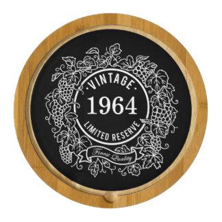 Vintage Grapevine Wine Stamp Black Add Birth Year Round Cheeseboard