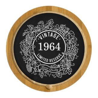 Vintage Grapevine Wine Stamp Black, Add Birth Year Round Cheeseboard