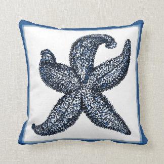 Vintage Graphic Blue Starfish Pillow