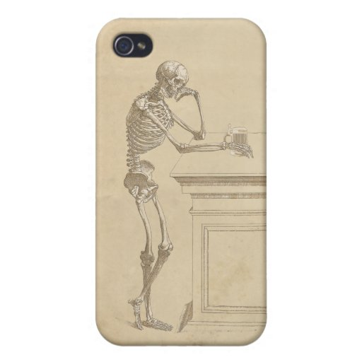Vintage Graphic Forlorn Skeleton Standing at a Bar iPhone 4/4S Covers