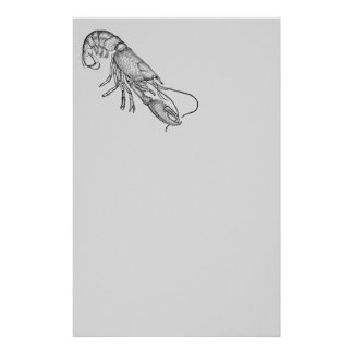 Vintage graphic lobster stationery