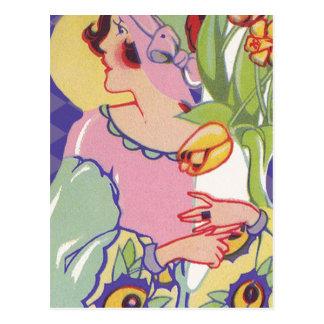 Vintage Graphics, Flapper holding flowers 1920s Postcard